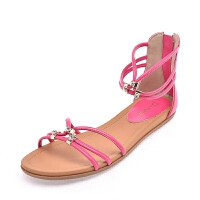 夏季浅口女鞋圆头低跟休闲通勤露趾女凉鞋 藕色 1014303142玫红