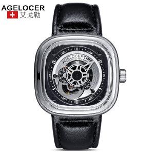 agelocer艾戈勒 瑞士进口品牌手表 大表盘时尚潮男士皮带防水方形运动机械表男表
