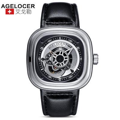 agelocer艾戈勒 瑞士进口品牌手表 大表盘时尚潮男士皮带防水方形运动机械表男表支持七天无理由退换货,零风险购
