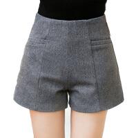 高腰毛呢短裤女秋冬季大码休闲裤呢子阔腿裤打底靴裤