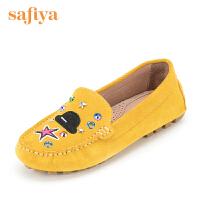 Safiya/索菲娅秋季新款圆头低跟平底豆豆鞋SF63111096