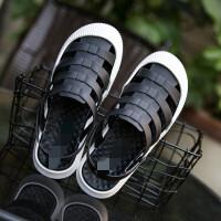 洞洞鞋女夏平底防滑韩版包头果冻凉拖鞋外穿海边沙滩鞋 黑色 1803