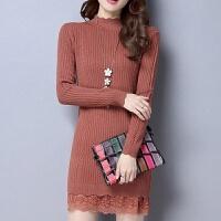 秋冬中长款毛衣女修身显瘦打底连衣裙针织衫中领蕾丝拼接