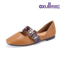 依思q2019新款俏丽典雅皮带金属扣方头优雅低跟单女鞋18150036
