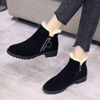 冬天女鞋2019雪地靴女新款保暖加厚短靴棉鞋防滑粗跟棉靴妈妈鞋女 黑色 35
