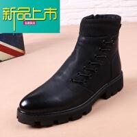 新品上市冬季尖头马丁靴厚底英伦加绒皮靴子男棉靴机车靴型师高帮皮鞋潮