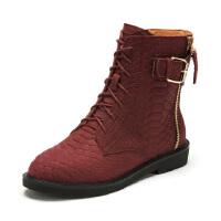 菲伯丽尔Fondberyl蛇纹牛皮革平跟圆头时尚短靴FB44119947
