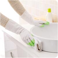 懿聚堂 厨房家务塑胶防水手套耐用薄款防油污乳胶洗碗手套