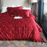 床上四件套纯棉 1.8m床双人被套婚庆爱心刺绣大红色床上用品 酒红爱心 美丽 2.0m(6.6英尺)床 床笠订制2天发