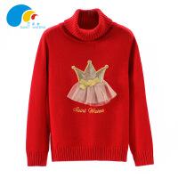 三点水童装冬装上新女中大童时尚百搭皇冠蕾丝高领毛衫毛衣装