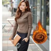 卡茗语冬天毛衣加绒加厚款女士短款修身大码针织衫保暖半高领套头打底衣