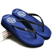 简单女式时尚夹脚沙滩人字拖鞋夏季凉拖鞋中跟厚底休闲坡跟凉拖鞋 36 (偏小一些脚胖可选大一码)