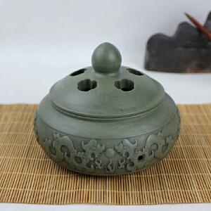 梁成劲作品 精品绿端《古龙》香熏炉 古朴清雅 天然翠绿 收藏