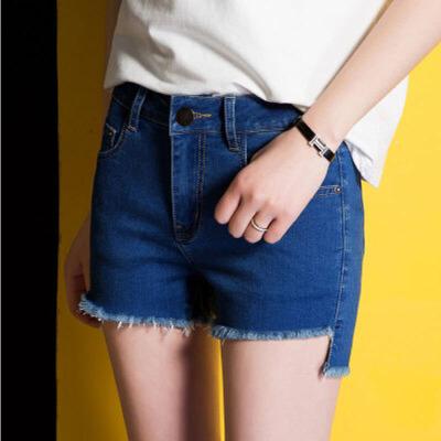 夏季时尚流苏花边女式牛仔短裤蓝色百搭提臀显瘦牛仔裤567