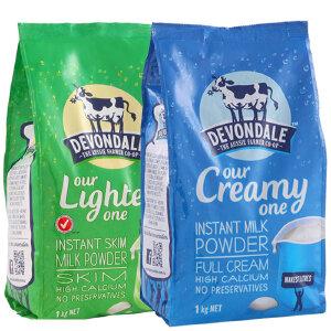 【 2袋装】 澳大利亚Devondale德运 高钙儿童中老年成人奶粉1KG 脱脂/全脂 各一袋