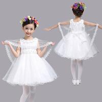 女童白色披肩礼服裙中大童婚纱裙公主裙花童裙蓬蓬连衣裙儿童礼服 白色