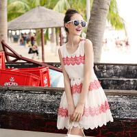 谜秀夏装女装无袖连衣裙中长款韩版修身甜美裙子夏季潮