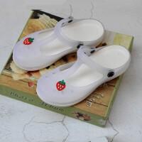 白色洞洞鞋女凉鞋厚底坡跟果冻鞋沙滩鞋女拖鞋夏季大码工作护士鞋