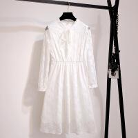 2018秋冬新款女早秋法式冬季白色蕾丝小香风长袖打底连衣裙秋气质 白色