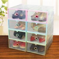 门扉 鞋盒 布艺视窗透明鞋盒3个装可水洗鞋子收纳盒抽屉式整理箱组合柜创意家居日用品