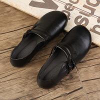 复古女鞋春圆头浅口手工软平底单鞋新款民族风百搭休闲鞋