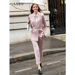 【到手价:194.9元】Amii极简女神范chic时尚条纹套装2019春季新双排扣西装修身九分裤