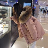 短款大毛领羽绒女2018冬季新款韩版工装棉衣宽松bf棉袄外套潮