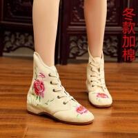 秋冬新款绣花鞋女老北京短靴 古风绣花布鞋 内增高舞蹈鞋高帮鞋女
