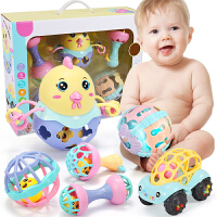 婴儿摇铃玩具可咬软胶手抓球2-3-6-12个月新生儿0-1岁宝宝5*物
