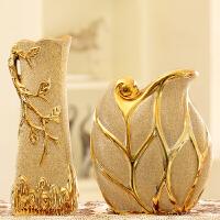 家居饰品创意 欧式客厅花瓶摆件陶瓷 干花花器电镀金色装饰工艺品SN3580