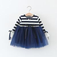 春秋季�n版�和�洋�馊棺优�童公主裙���0-1-3�q小童女�����B衣裙 藏青色 珠月亮裙