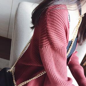 谜秀针织开衫外套女2017秋装新款韩版宽松纯色中长款薄款毛衣女装
