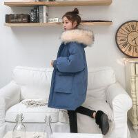 ins女中长款2018冬新款大毛领羽绒棉衣宽松bf面包服棉袄外套 蓝色 S