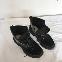 复古马丁靴女2019新款秋季女鞋复古英伦休闲短靴女系带皮靴子女潮