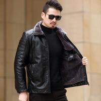 爸爸冬装外套40中年人50岁中老年男装pu皮衣冬季加绒加厚60棉衣服 加厚款-黑色 165/S