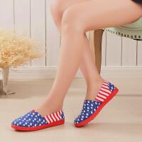 春季女鞋单鞋布鞋女网鞋软底懒人鞋休闲鞋帆布鞋平底学生鞋 蓝灰色 V兰块(单鞋)