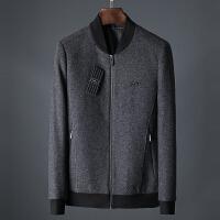 2018秋冬新款上衣商务休闲棒球领羊毛夹克衫修身毛呢外套男