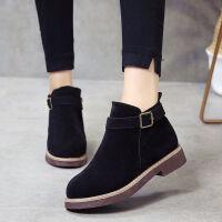 2018秋冬新款平底低跟皮带扣磨砂复古韩版女鞋短靴裸靴韩版女靴子