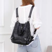 韩版女包铆钉双肩包女时尚女包妈咪包单肩包背包两用 黑色 1093小号