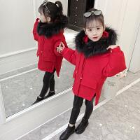 女童棉衣女孩洋气中大童童装中长款棉袄外套