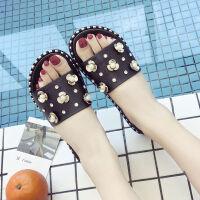 沙滩拖鞋女夏季时尚韩版百搭学生社会外穿室外海边度*字凉拖鞋