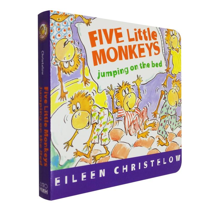 英文原版绘本 Five Little Monkeys Jumping on the Bed 五只小猴子在床上蹦蹦跳 Eileen Christelow 廖彩杏书单推荐绘本 幼儿启蒙认知纸板书