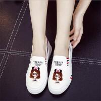帆布鞋女春夏新款帆布鞋手绘鞋卡通动漫鞋休闲一脚蹬懒人鞋透气平底经典女生鞋子