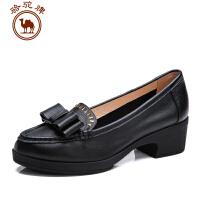 骆驼牌 春季新款优雅时尚粗跟女士单鞋舒适轻便 圆头单鞋