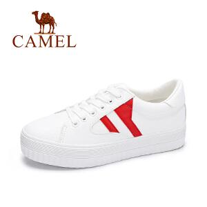 camel骆驼女鞋  秋季新品休闲平跟板鞋 时尚百搭拼色小白鞋