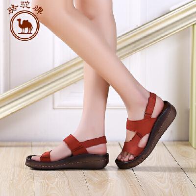 骆驼牌女鞋 夏季新品 女士休闲凉鞋透气平跟低帮牛皮女鞋子