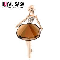 皇家莎莎RoyalSaSa韩版胸花流行时尚百搭款合金水晶胸针-芭蕾公主