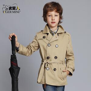 小虎宝儿童装男童风衣外套韩版儿童中长款夹克中大童上衣2018春装