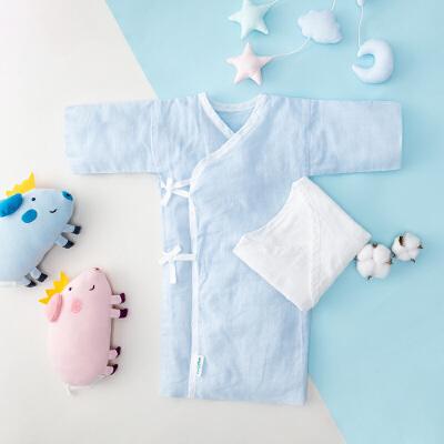 全棉时代   盒装(蓝色+白色)水洗长款纱布婴儿服59/44 2件/盒