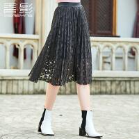香影网纱半身裙 2017冬装新款时尚纯色女装蕾丝百褶裙韩版显瘦潮